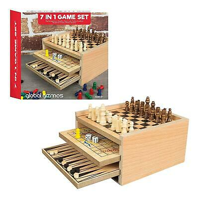 Hand Made Wooden Board Game Set Travel Games Chess Backgammon Draughts uk