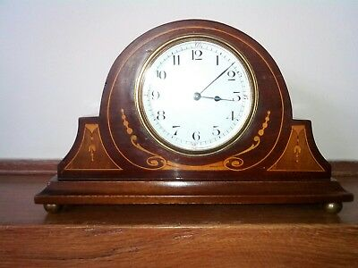 Edwardian mahogany Inlaid Timepiece 8-Day Mantel Clock in good working order.