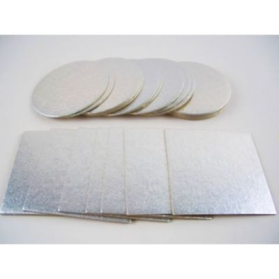 """8"""",10,12,14 & 16"""" inch Cake Boards Double Thick 3MM V Strong- Side Silver foiled"""