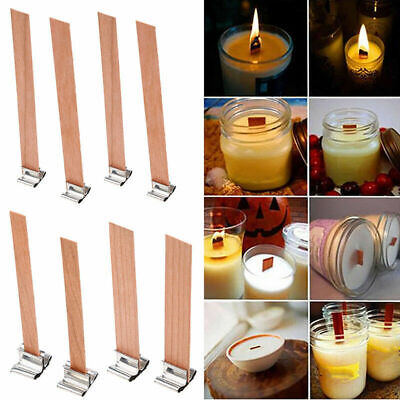 10PCS DIY Wooden Wick Candle Core Sustainers In Soy Paraffin Making Party Lots