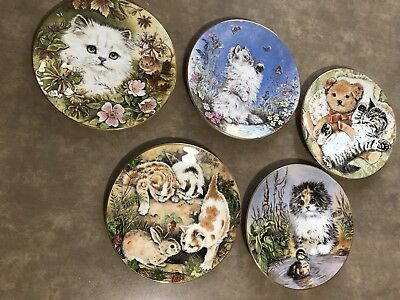 Vintage Kitten plate bone china royal worcester by pam cooper 1986 Lot Of 5
