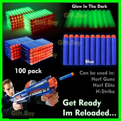 100 Pcs NERF Gun Darts Bullets Refill Soft Toy Elite N -Strike Round Head Blast