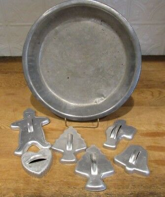 Old Vintage Farmhouse Large Metal Pie Pan Plate & Christmas Cookie Cutters