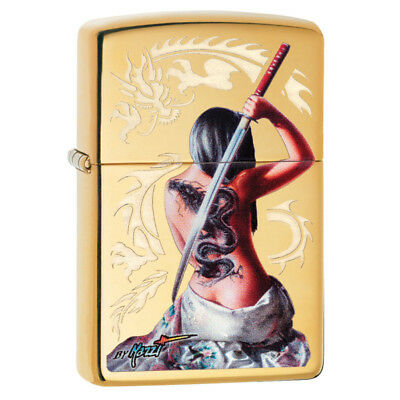 Personalised Polished Brass Dragon Lady 29668 Zippo Lighter - Free Engraving