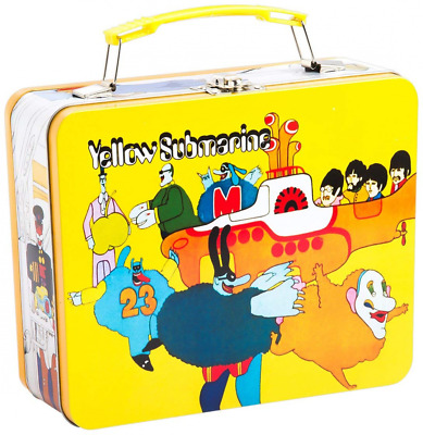 Beatles Yellow Submarine Vintage Shaped Tin Metal Lunchbox Tote w/ Handle, Large
