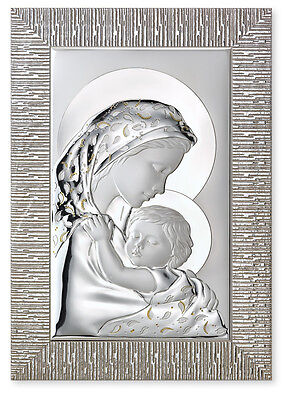 PAINTING BEDBOARD MADONNA with BABY and drops Cm.40x58 SHEET 925 silver% 21215