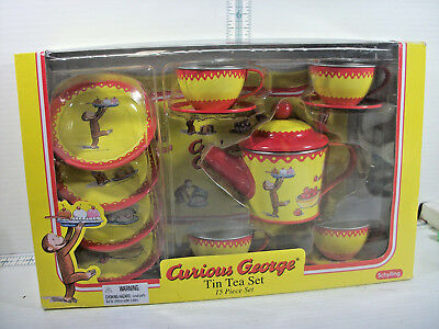 Schylling Curious George Tin Tea Set In Original Box 15 Piece Toy Dishes