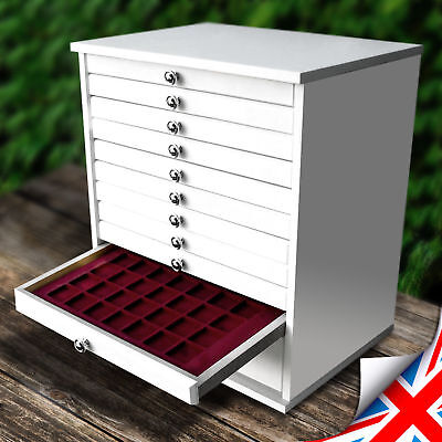 White COLLECTION CABINET Chest Coin, Medals Tray for 10 Trays - (EVA-10)
