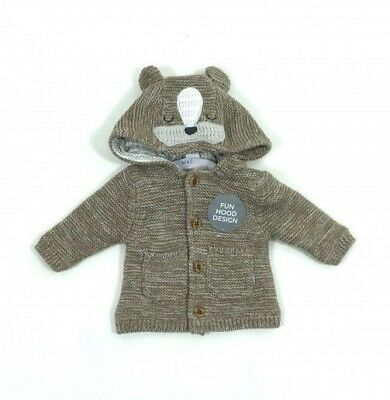 Ex M&S Baby Boys Brown Lined Bear Hooded Cardigan Jacket Knitwear N/B 3 6 9 12