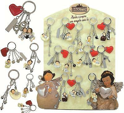 FAVOURS COMMUNION and confirmation KEY HOLDER with Angel in 12 MODELS 925 SILVER