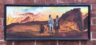 "Vintage ""Gene Locklear"" Oil on Canvas Painting - Native Americans on Horses"