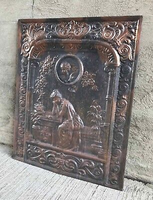 Antique Victorian Japanned Metal Fireplace Summer Cover Lady