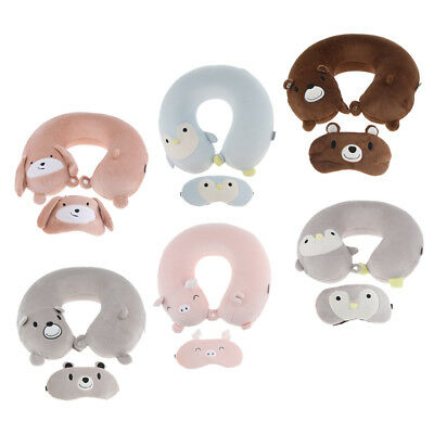 U-shaped Travel Pillow Neck Support Head Rest Airplane Cushion with Eye Mask