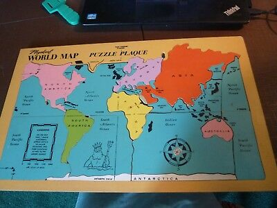 Vintage Playskool Wood Inlaid Map Puzzle of the World Wooden Tray Puzzle