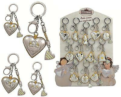 N.1 FAVOURS COMMUNION and confirmation KEY HOLDER ANGEL SILVER 925% in 12 MODELS