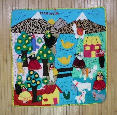 3D Stitched Quilted Embroidered Folk Art Wall Hanging Pillow Panel Landscape Vtg