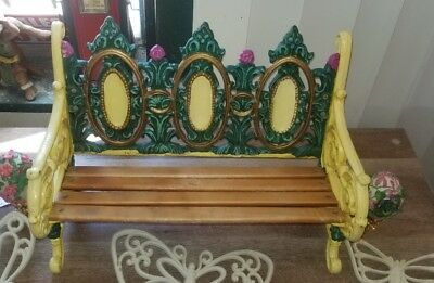 Vintage/Antique Purple & Yellow Painted Miniature Cast Iron & Wood Garden Bench