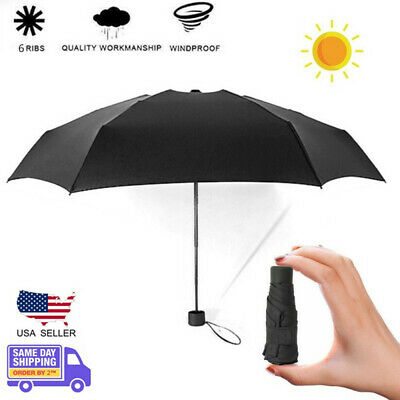 Portable Mini Folding Umbrella 17cm Pocket Parasol Rain Anti-UV Ultralight Women