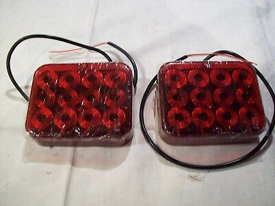 A pair of LED Rear Fog Lights  Flat base12 Volt Trailer Truck pre wired FREE P&P