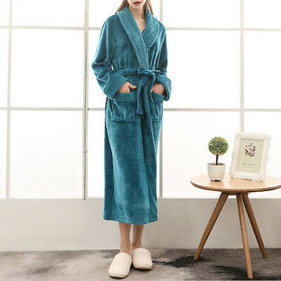 Soft Warm Fleece Cotton Long Bathrobe Dressing Gown Pajama Women Men