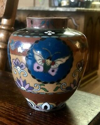 Antique Japanese Cloisonne and Enamel Meji Period Butterfly Vase