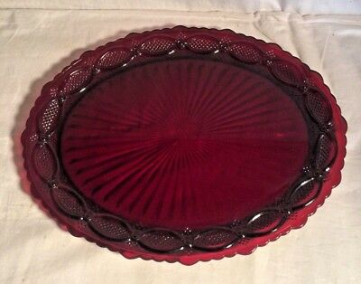 """Avon 1876 CAPE COD ruby red glass 13.5"""" Oval SERVING PLATTER Dish OTHERS LISTED"""