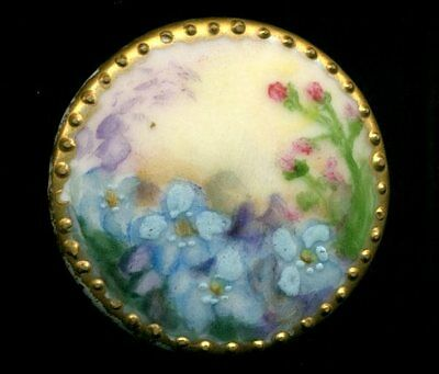 Lovely Antique Victorian Hand Painted Stud Button, Blue Flowers Gold Dot Border
