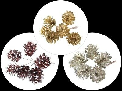 Glitter Pine Cones On Wire Christmas Wreath Decorations Choice Of 4 Colours
