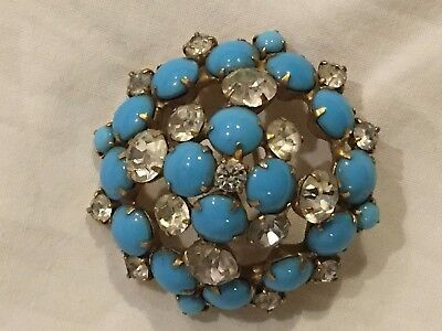 Vintage amazing large 1940s to 1950s turquoise glass rhinestone diamante brooch
