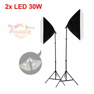 Photo Studio Softbox Lighting Set Video 2x30W LED Bulbs Soft Box Light Stand Kit