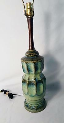 MID CENTURY modern Teak TABLE Desk LAMP  GREEN drip glaze ceramic 1950's Lamp