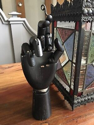 Wooden Mannequin Articulated Hand Form Black Paint Finish  Free Delivery Display
