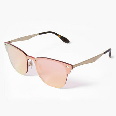 eabae2acdceb1 Ray-Ban Blaze Clubmaster RB3576N 043 E4 Gold Pink Mirror Sunglasses 47mm Non