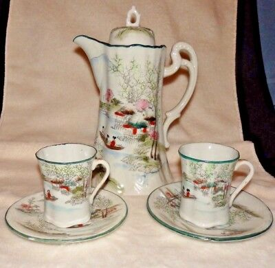 Antique NIPPON TORRI Hand Painted Porcelain CHOCOLATE POT SET w/TEA CUPS SAUCERS