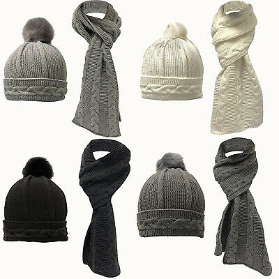 Womens Ladies Woollen Warm Thick Knitted Hat Scarf Set Christmas Gift Soft Treat