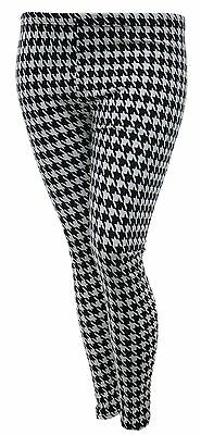 Womens New Leggings Houndstooth Black White Stretch DogTooth Girls