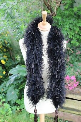 French Antique Black/Dark Brown Ostrich Feather Boa with Matching Passementerie