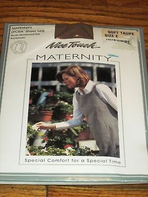 Woman's Plus Size Nice Touch Maternity Pantyhose Soft Taupe Size E NWT