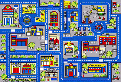 7x10 Rug Play Road Driving Time Street Car Kids Town Map Street City FunTime New