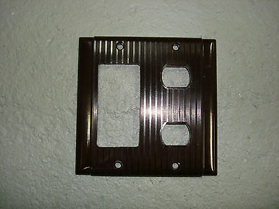 Vintage Uniline Brown Decora GFCI Switch Despard Cover Plate 2 Gang Ribbed P&S