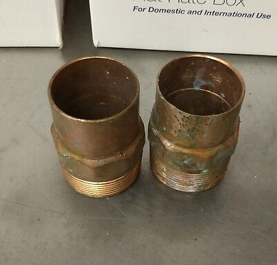 """1-1/2"""" Copper Male Adapter MIP x C Sweat Fitting NOS"""