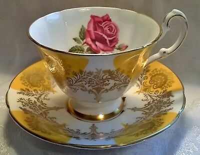 Paragon Large Red Rose in Yellow Tea Cup and Saucer Gold Filigree Trim