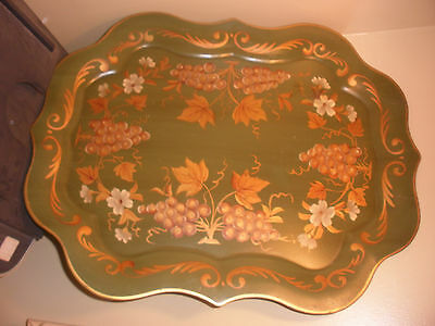 Old vintage very large scalloped edge metal tray Toleware grapes