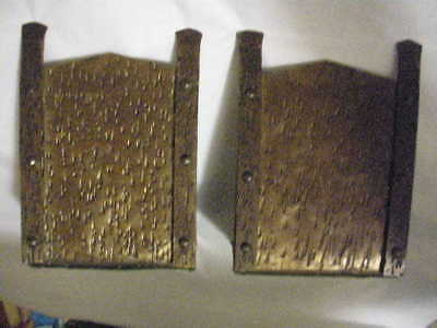 Arts Crafts Era Vtg Mission Style Bookends, Hand Made Rivets Copper