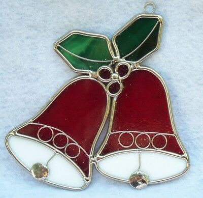 Beautiful Stained Glass Lead Christmas Bell Holly  Window Sun Catcher Ornament