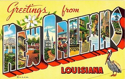 New Orleans Louisiana LA Greetings From Bridge Large Letter Chrome Postcard