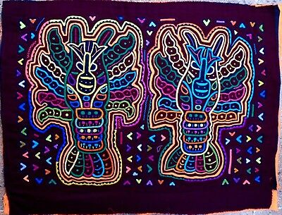 Kuna Indian Art. Hand Stitch. group of lobsters-318 . Mola Art of Panama.