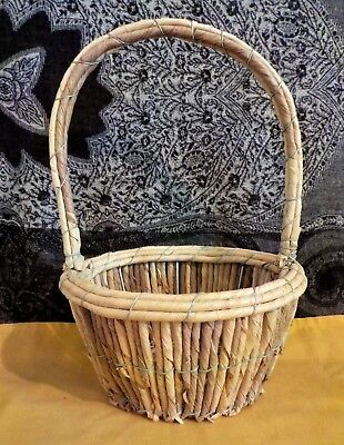 Hand Woven Corn Husk And Grass On Wire Basket Round With Handle Vintage