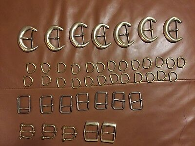 Lot Of 44 Belt Buckles And Pieces Brass Craft