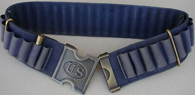 "Replica  Span. Am. War. 45-70 BLUE Web Cartridge Belt & Brass US ""H"" Buckle"